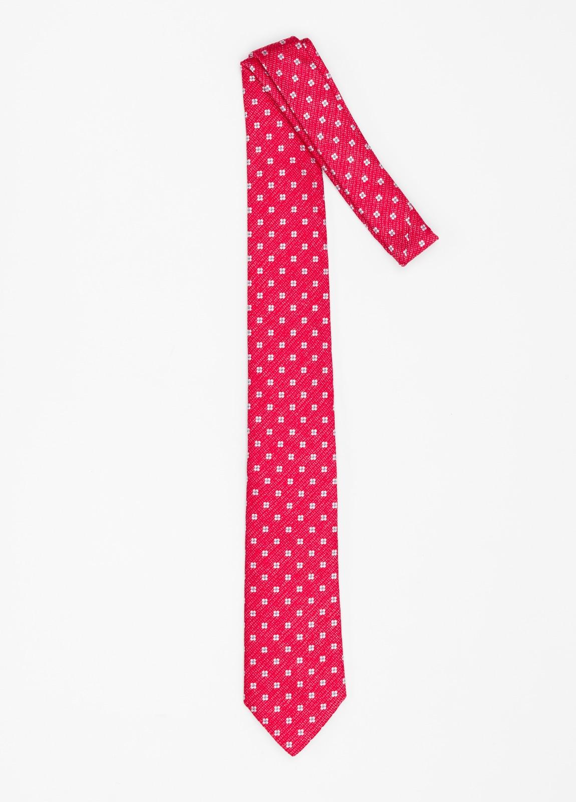 Corbata Formal Wear micro textura flor color rojo. Pala 7,5 cm. 100% Seda. - Ítem1