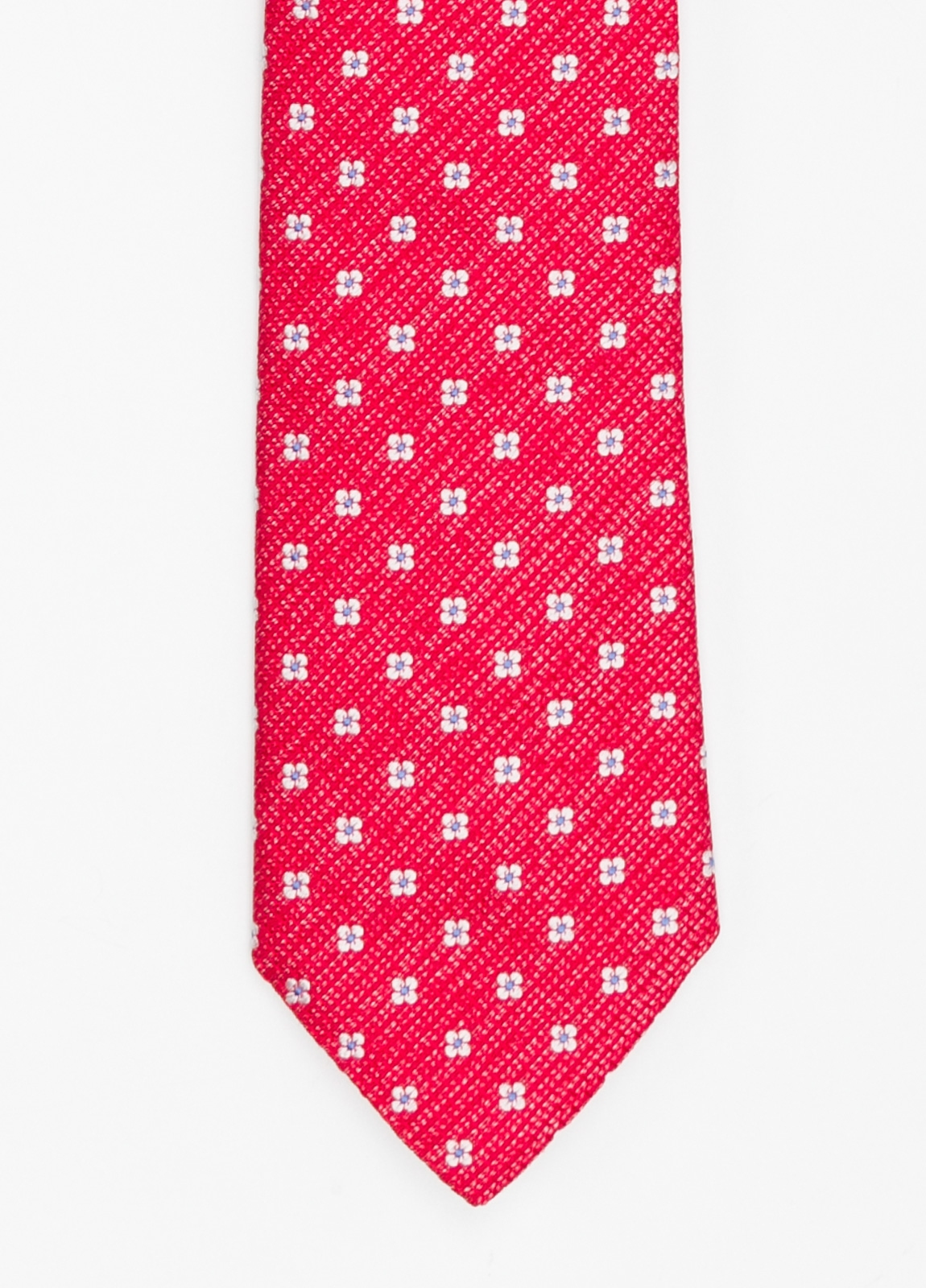 Corbata Formal Wear micro textura flor color rojo. Pala 7,5 cm. 100% Seda.