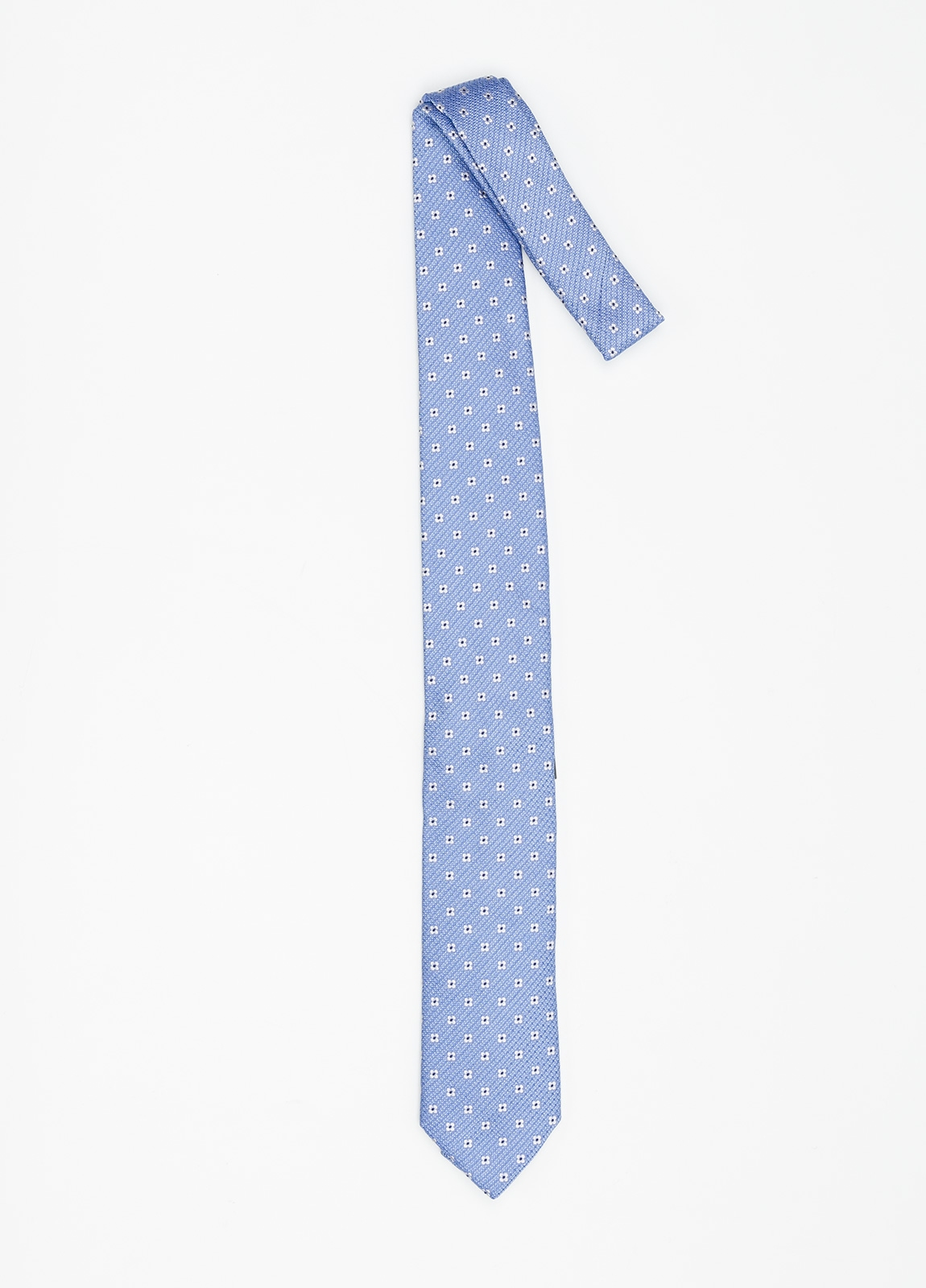 Corbata Formal Wear micro textura flor color azul celeste. Pala 7,5 cm. 100% Seda. - Ítem1