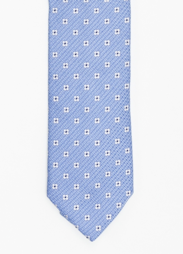 Corbata Formal Wear micro textura flor color azul celeste. Pala 7,5 cm. 100% Seda.