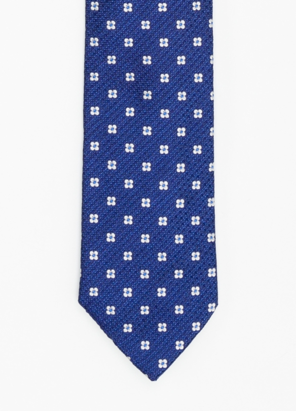 Corbata Formal Wear micro textura flor color azul. Pala 7,5 cm. 100% Seda.