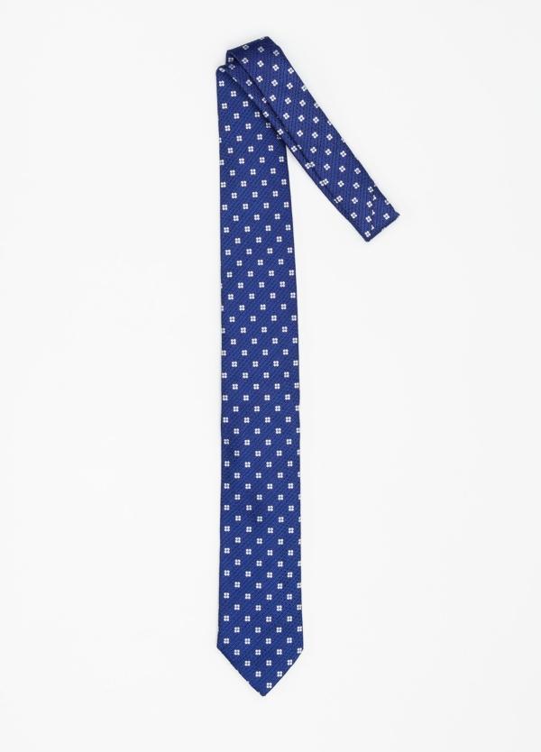 Corbata Formal Wear micro textura flor color azul. Pala 7,5 cm. 100% Seda. - Ítem1