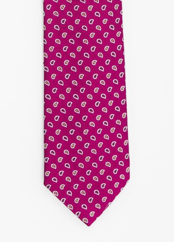Corbata Formal Wear dibujo cachemir color fuxia. Pala 7,5 cm. 100% Seda.