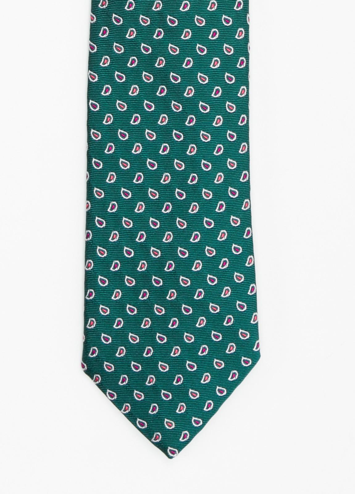 Corbata Formal Wear dibujo cachemir color verde. Pala 7,5 cm. 100% Seda.