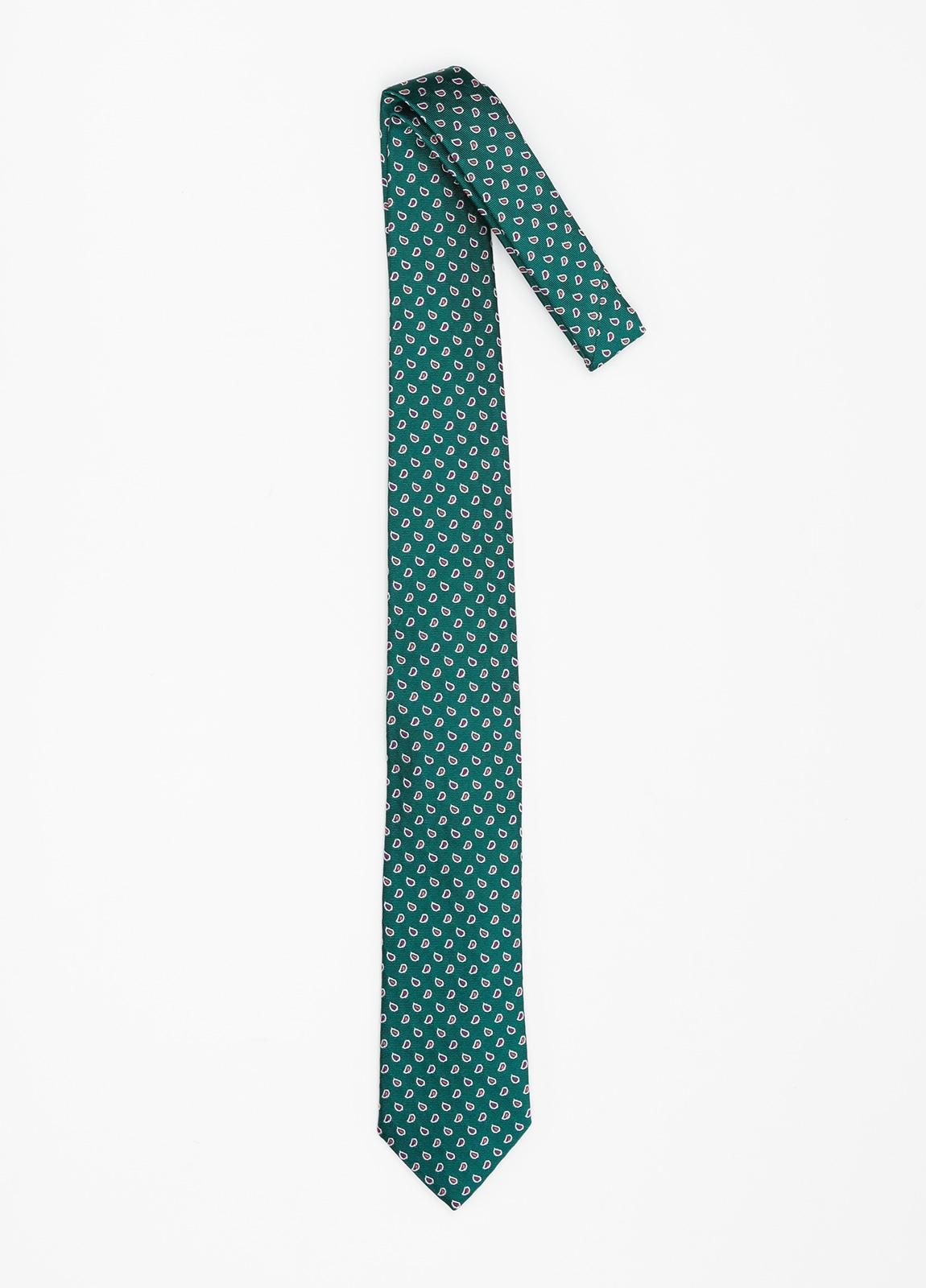 Corbata Formal Wear dibujo cachemir color verde. Pala 7,5 cm. 100% Seda. - Ítem1