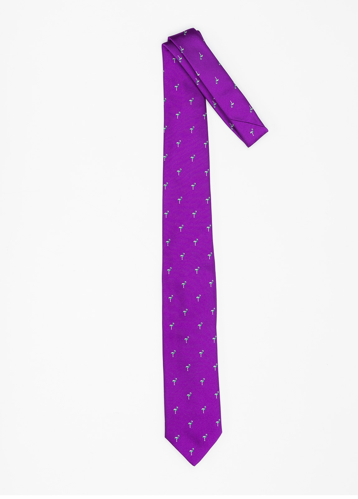 Corbata Formal Wear dibujo flamencos color lila. Pala 7,5 cm. 100% Seda. - Ítem1