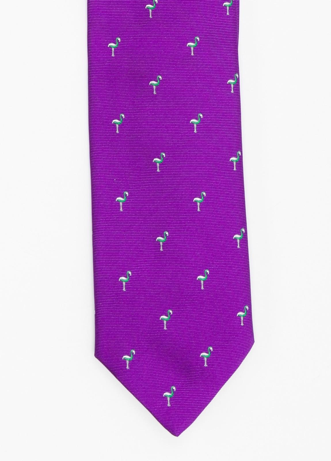Corbata Formal Wear dibujo flamencos color lila. Pala 7,5 cm. 100% Seda.