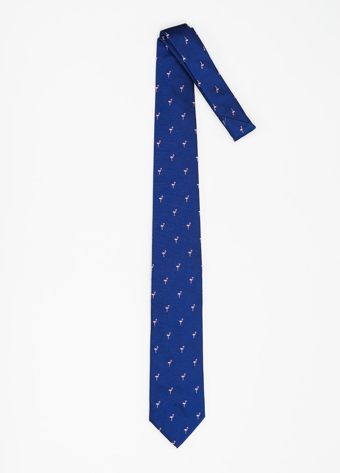 Corbata Formal Wear dibujo flamencos color azul. Pala 7,5 cm. 100% Seda. - Ítem1