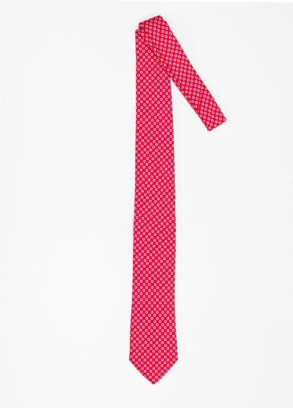 Corbata Formal Wear dibujo flor color rojo. Pala 7,5 cm. 100% Seda. - Ítem1