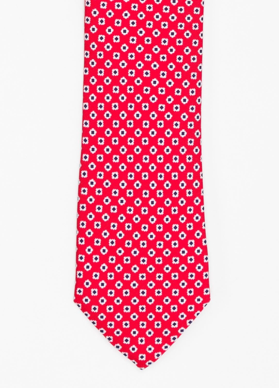 Corbata Formal Wear dibujo flor color rojo. Pala 7,5 cm. 100% Seda.