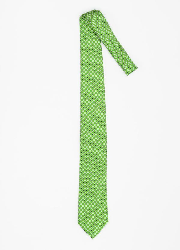 Corbata Formal Wear dibujo flor color verde. Pala 7,5 cm. 100% Seda. - Ítem1