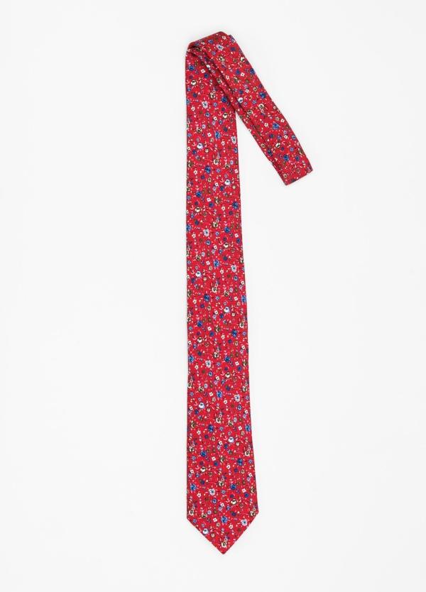 Corbata Formal Wear micro textura con estampado floral color rojo. Pala 7,5 cm. 100% Seda. - Ítem1