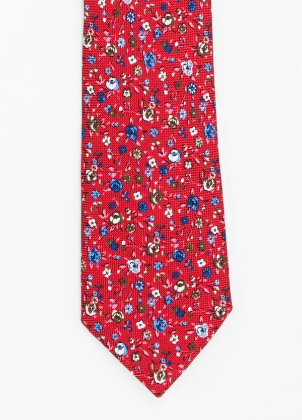 Corbata Formal Wear micro textura con estampado floral color rojo. Pala 7,5 cm. 100% Seda.