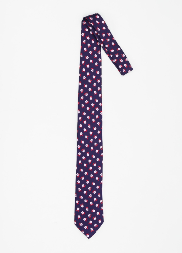Corbata Formal Wear dibujo flor color azul marino. Pala 7,5 cm. 100% Seda. - Ítem1