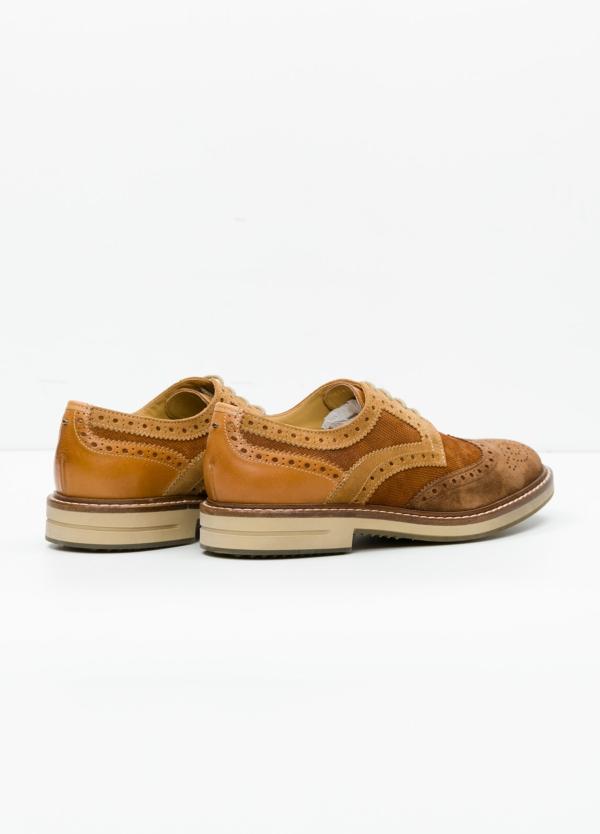 Zapato Sport Wear color marrón. Combinación de serraje y piel con troquelado. - Ítem4