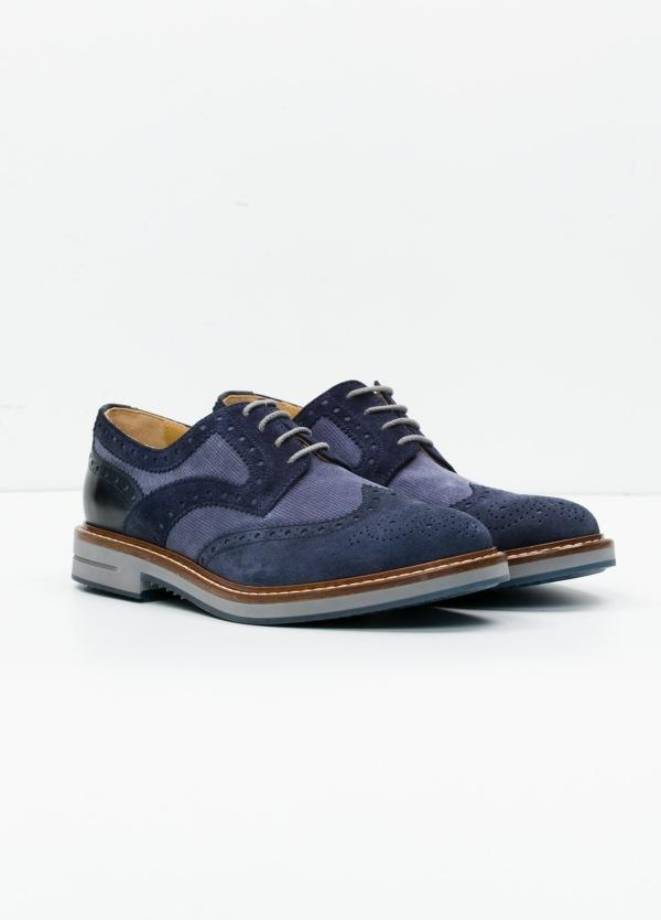 Zapato Sport Wear color azul. Combinación de serraje y piel con troquelado. - Ítem1