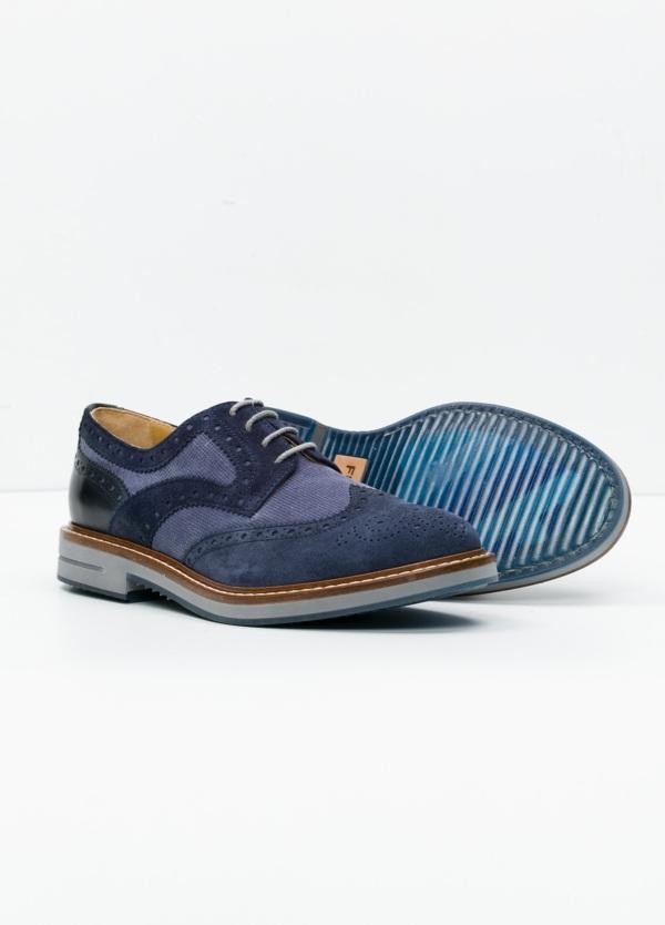 Zapato Sport Wear color azul. Combinación de serraje y piel con troquelado. - Ítem2