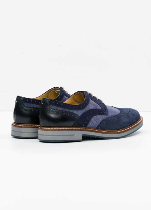 Zapato Sport Wear color azul. Combinación de serraje y piel con troquelado. - Ítem3