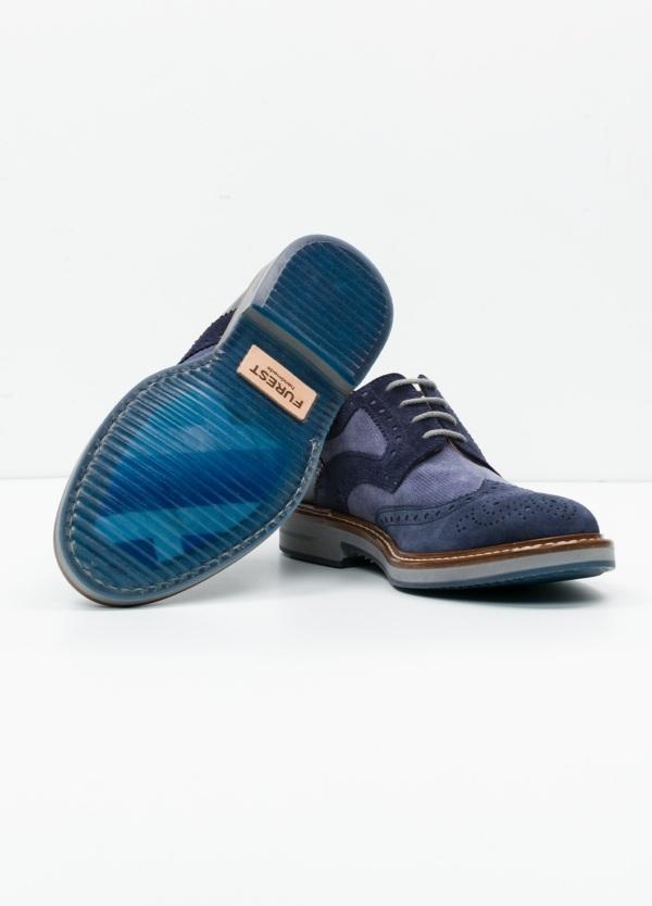 Zapato Sport Wear color azul. Combinación de serraje y piel con troquelado. - Ítem4
