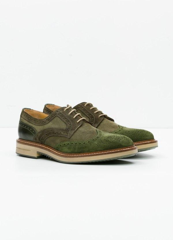 Zapato Sport Wear color kaki. Combinación de serraje y piel con troquelado. - Ítem3