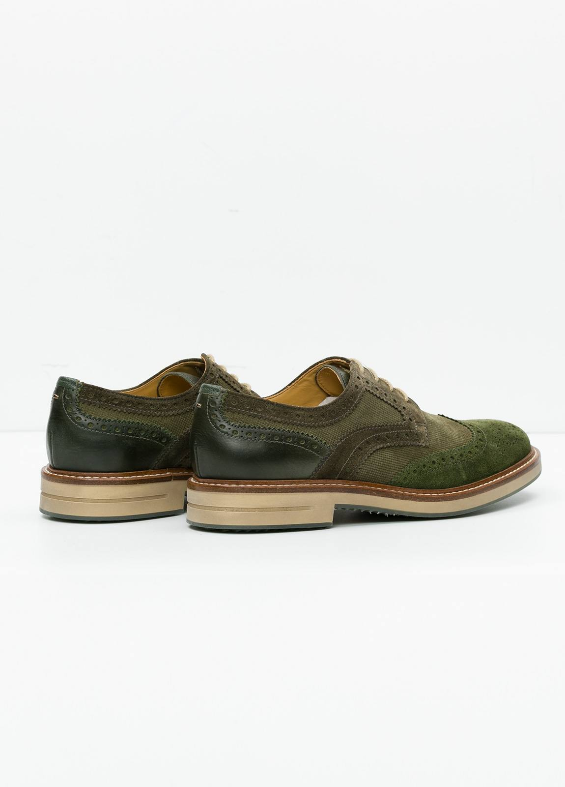 Zapato Sport Wear color kaki. Combinación de serraje y piel con troquelado. - Ítem2