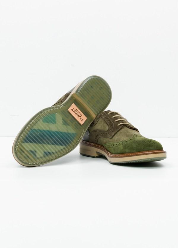 Zapato Sport Wear color kaki. Combinación de serraje y piel con troquelado. - Ítem1
