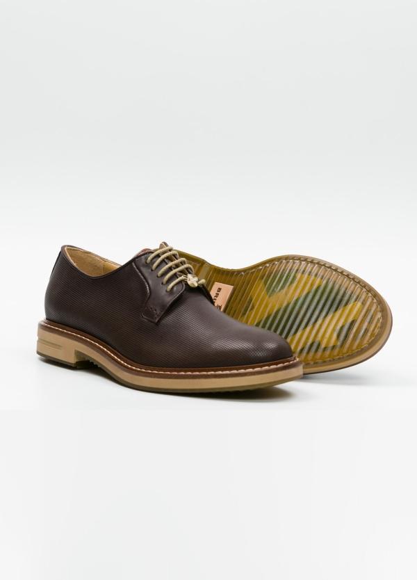 Zapato Formal Wear con cordones color marrón. 100% Piel grabada. - Ítem1