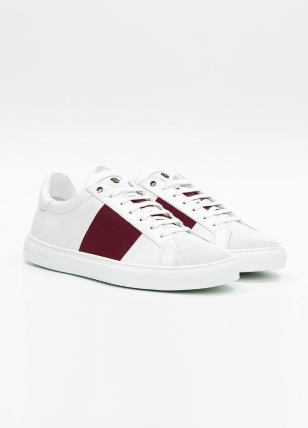 Calzado sport color blanco con detalles granates. 100% Piel. - Ítem1