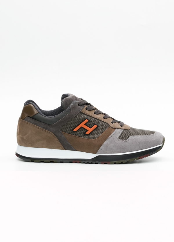 Calzado sport hombre H321 color marrón. Combinación de serraje, tejido técnico y apliques en piel.