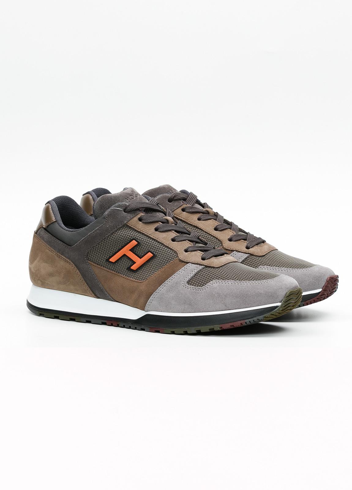 Calzado sport hombre H321 color marrón. Combinación de serraje, tejido técnico y apliques en piel. - Ítem2