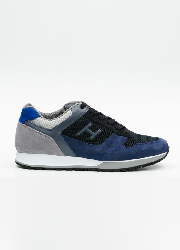 Calzado sport hombre H321 color azul. Combinación de serraje, tejido técnico y apliques en piel.