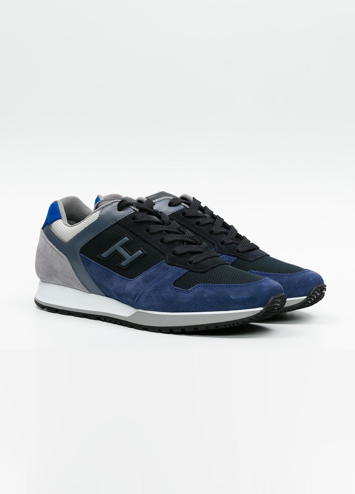 Calzado sport hombre H321 color azul. Combinación de serraje, tejido técnico y apliques en piel. - Ítem2