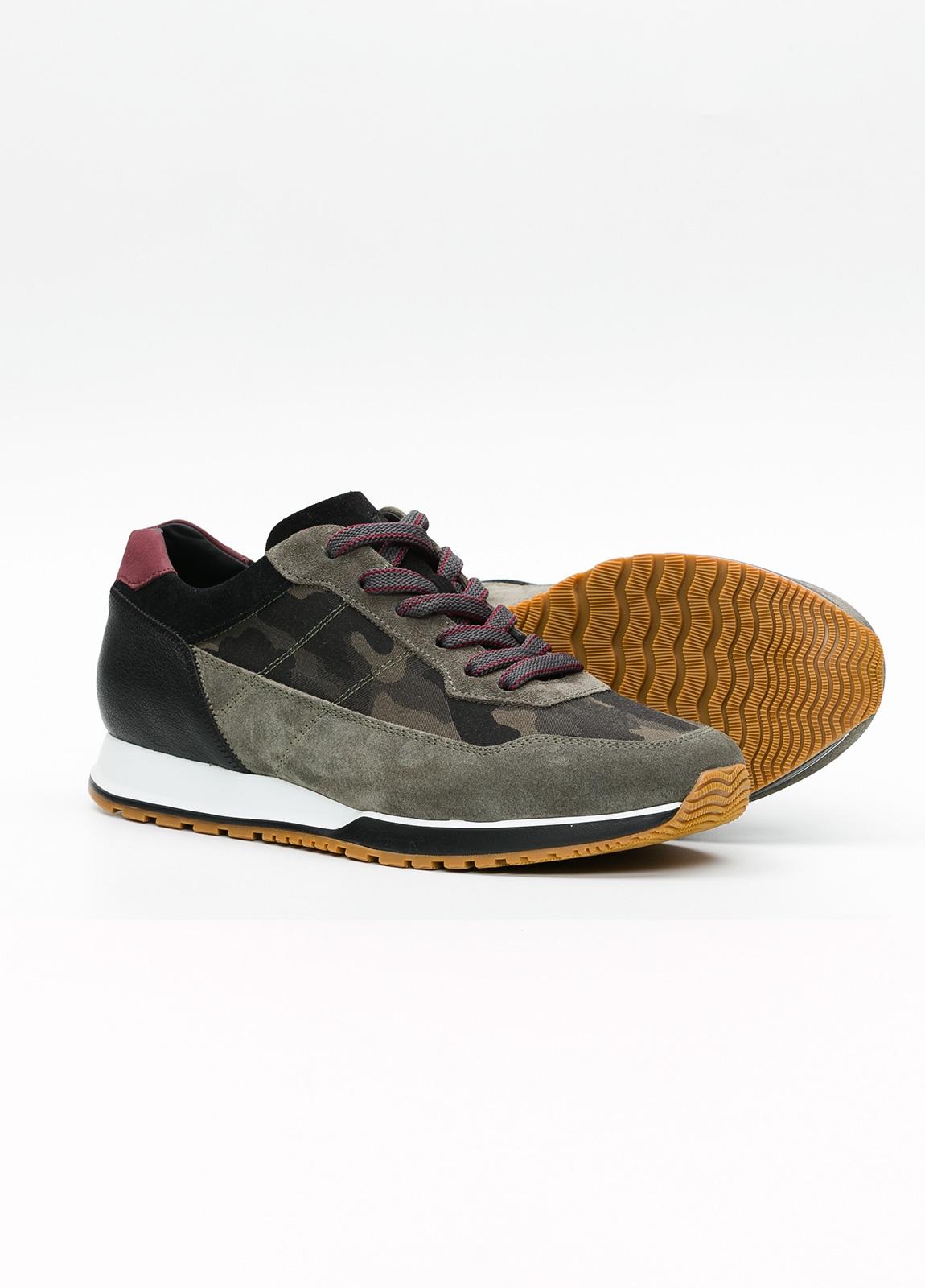 Calzado sport hombre H321 color kaki. Combinación de serraje y piel. - Ítem2