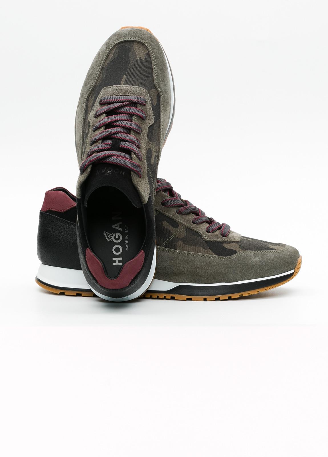 Calzado sport hombre H321 color kaki. Combinación de serraje y piel. - Ítem1