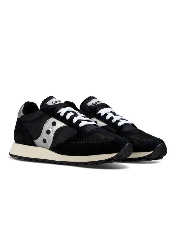 Calzado sport hombre JAZZ O VINTAGE color negro con detalles grises combinación de serraje, malla y tejido técnico. - Ítem1