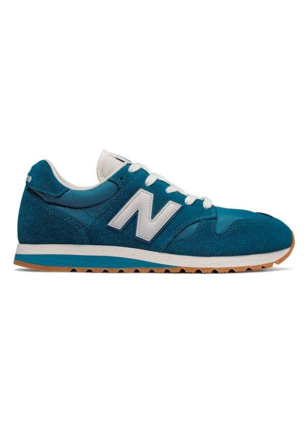 Sneaker hombre U520 color azul turquesa con detalles en blanco serraje, piel y malla.