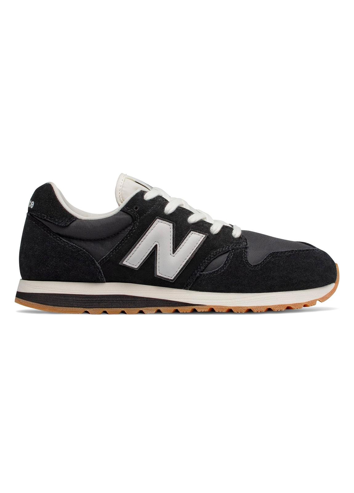 Sneaker hombre U520 color negro con detalles en blanco serraje, piel y malla.