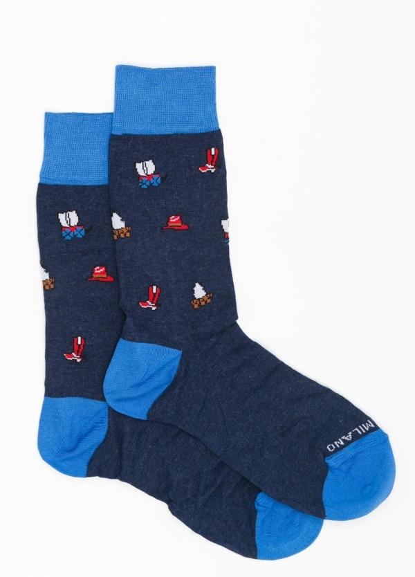 Calcetín corto con dibujos color azul marino, 67% Algodón 30% Pa 3% Ea.