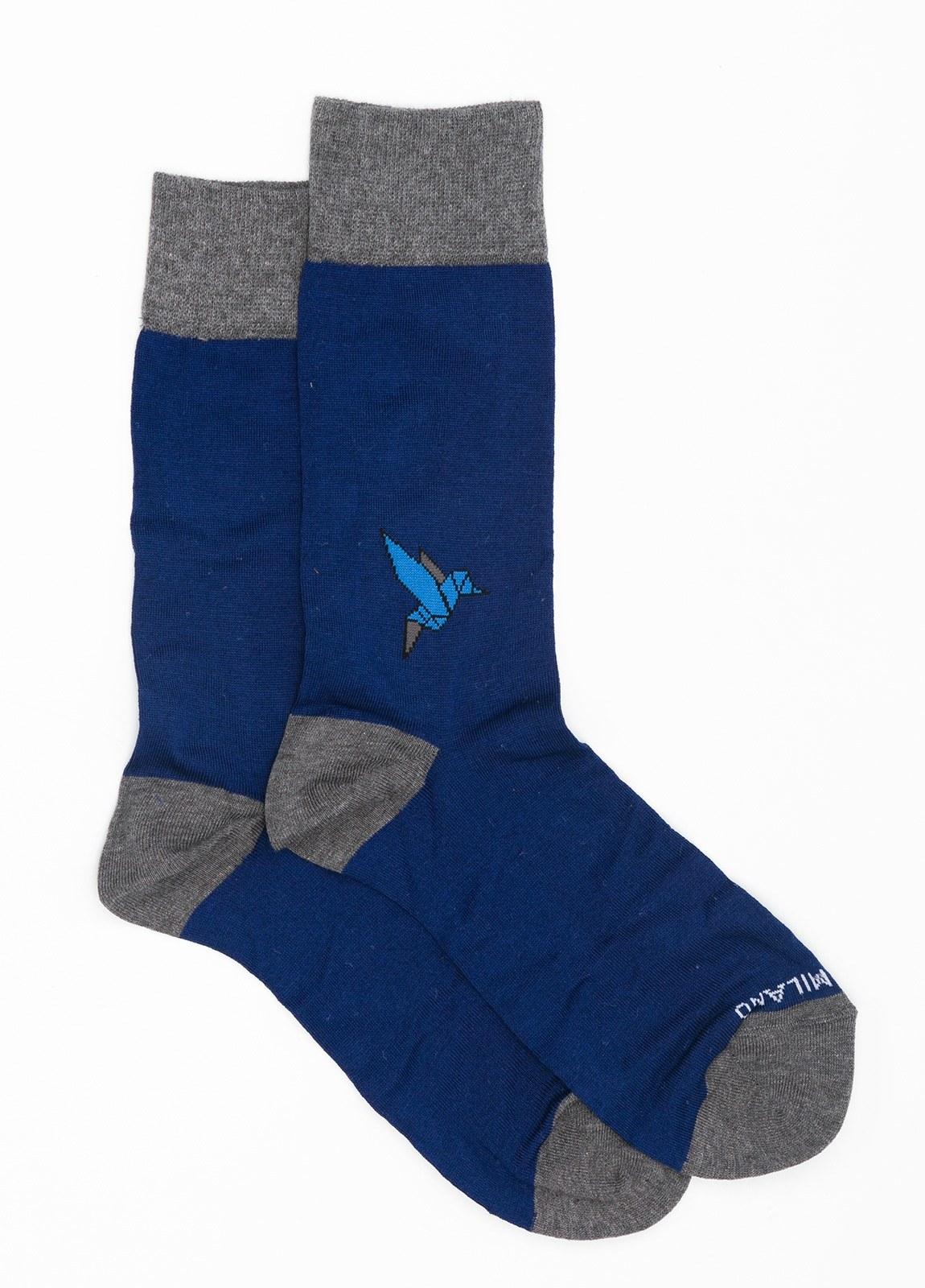 Calcetín corto con dibujo pajarita color azul medio, 75% Algodón 22% Pa 3% Ea.