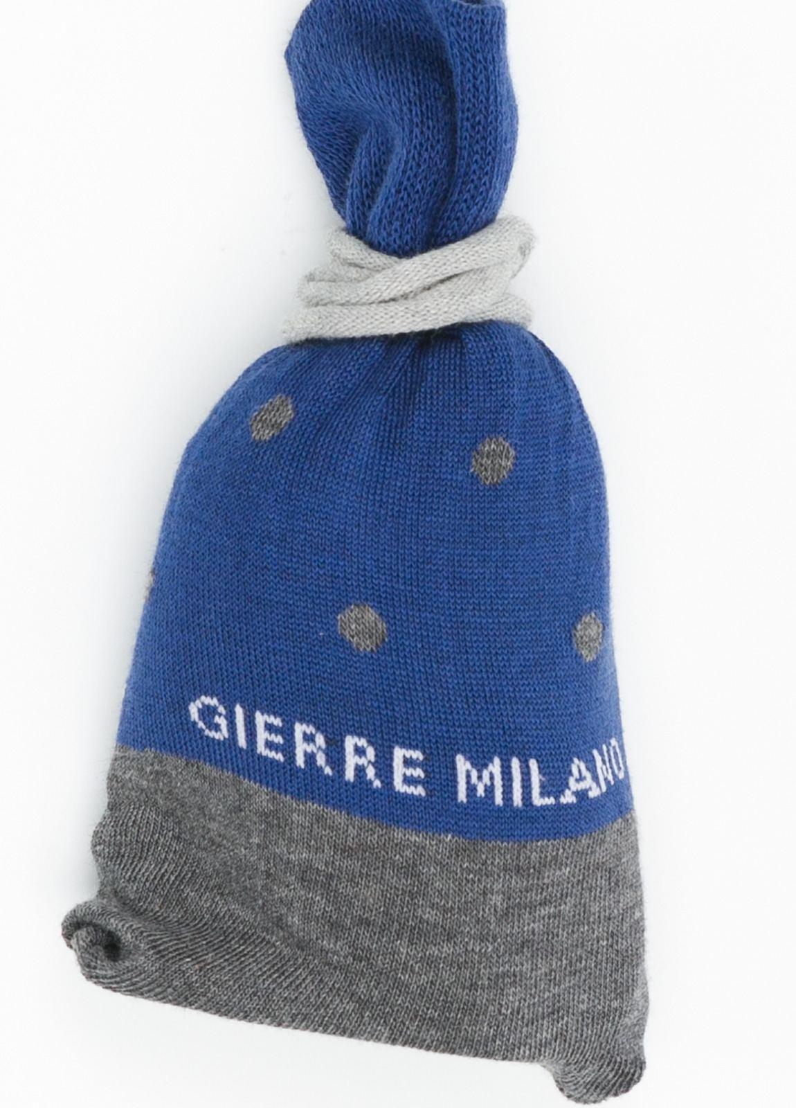 Calcetín corto color azul medio con topito gris y pareja en color gris liso, Algodón. - Ítem1