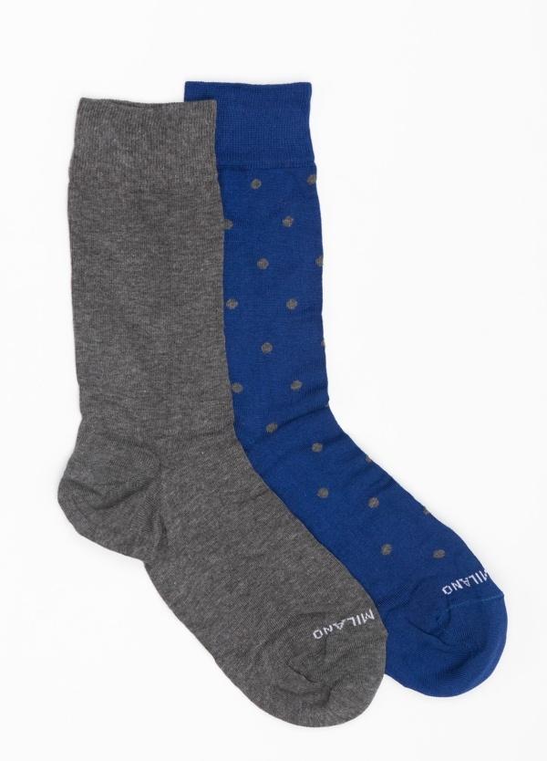Calcetín corto color azul medio con topito gris y pareja en color gris liso, Algodón.