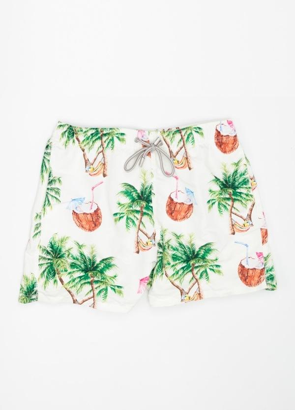 Bañador estampado palmeras y cocos modelo GUSTAVIA color fondo blanco, microfibra.