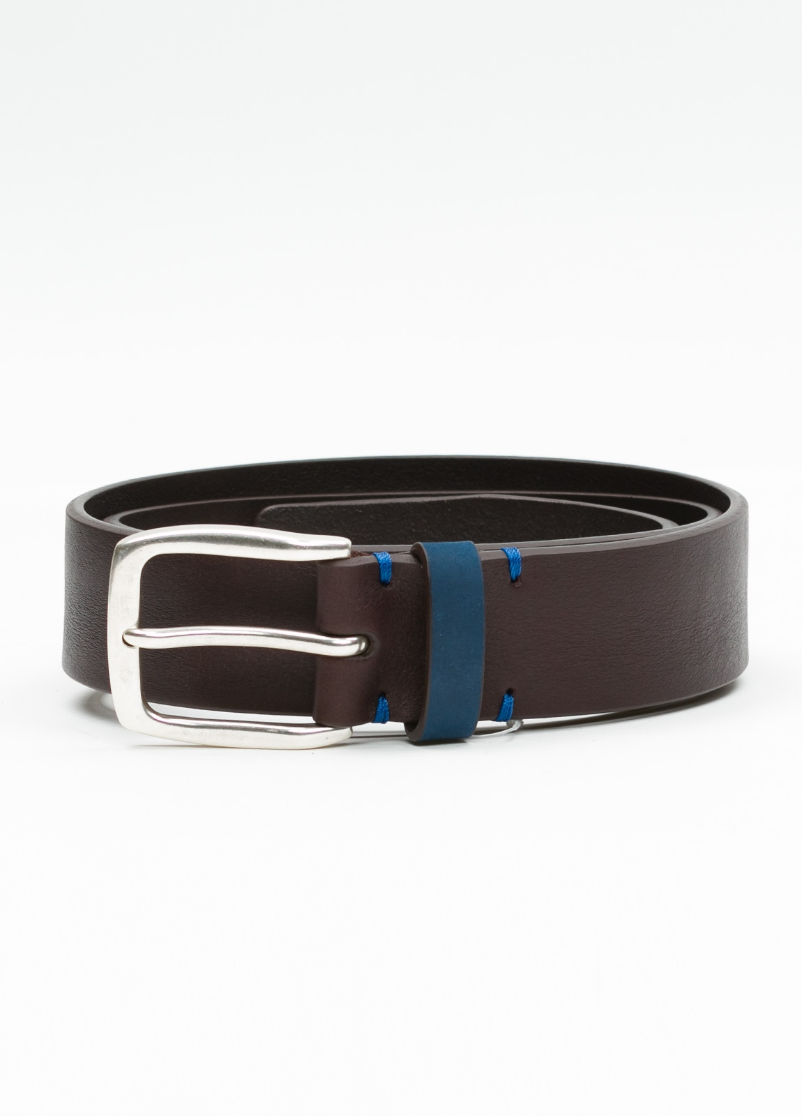 Cinturón Sport piel lisa color marrón, 100% Piel.
