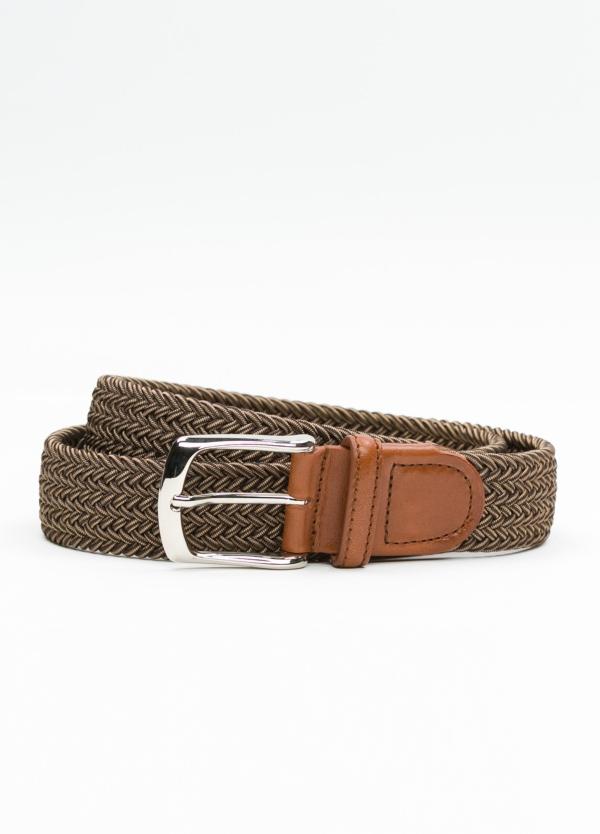 Cinturón Sport trenzado color marrón. 100% Rayón.