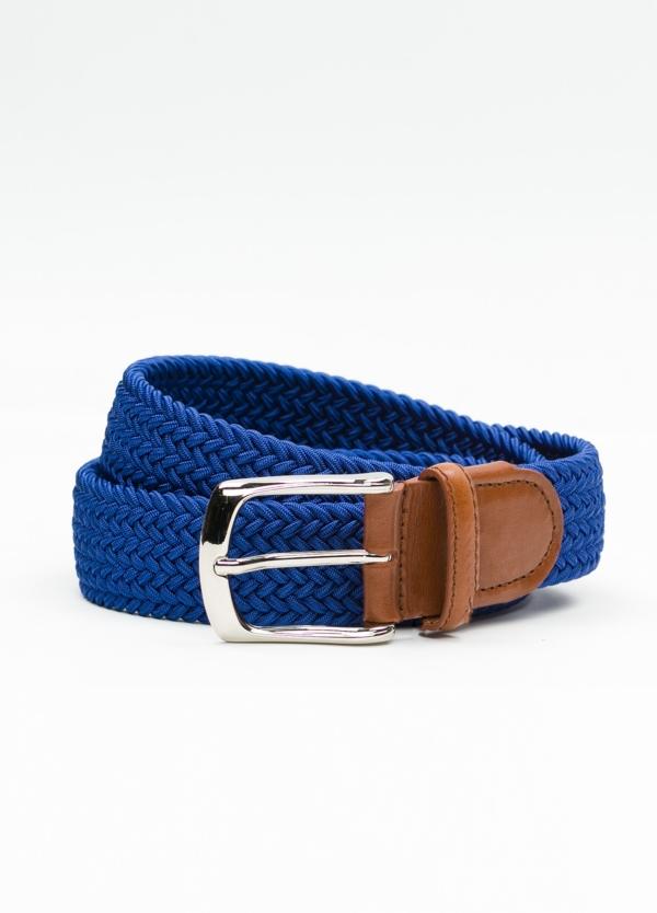Cinturón Sport trenzado color azul. 100% Rayón.