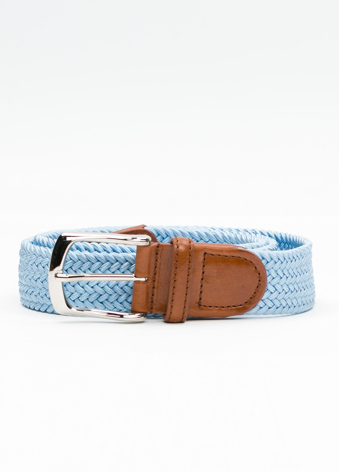 Cinturón Sport trenzado color celeste. 100% Rayón.