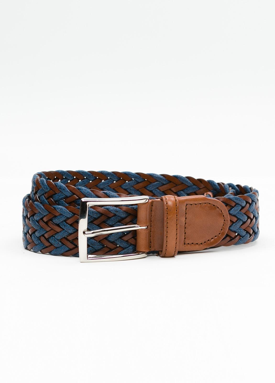 Cinturón Sport trenzado color azul. Piel y lino.