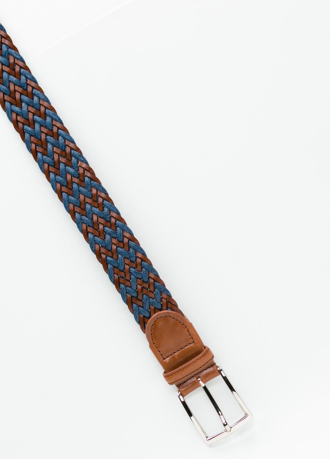 Cinturón Sport trenzado color azul. Piel y lino. - Ítem1