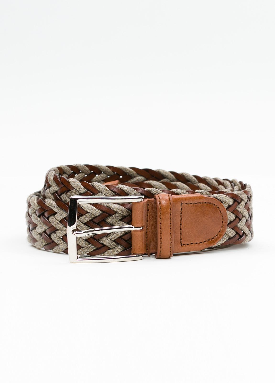 Cinturón Sport trenzado color marrón. Piel y lino.
