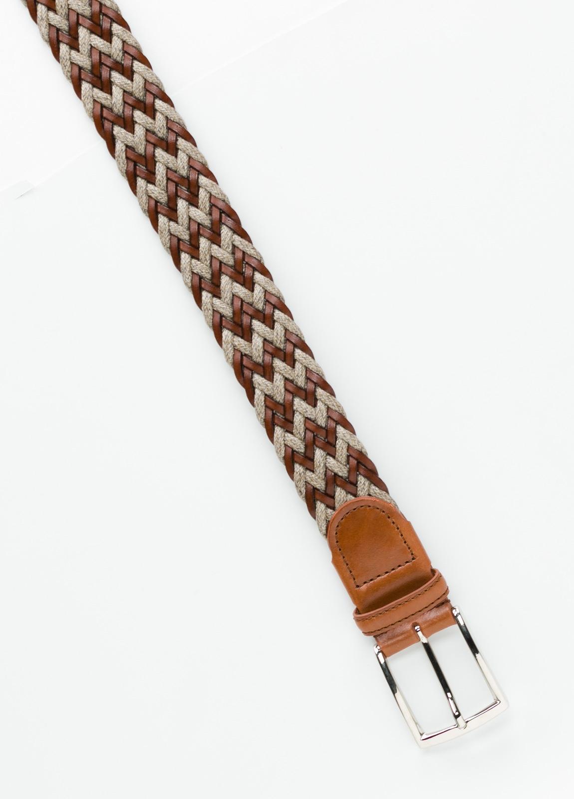 Cinturón Sport trenzado color marrón. Piel y lino. - Ítem1